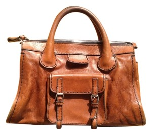 Chloe Leather Silver Hardware Satchel in Brown