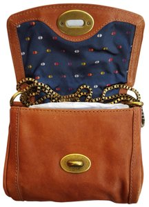 Fossil Antique Brass Chain Luggage Leather Vintage Leather Turn Lock Closure Shoulder Bag