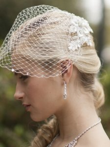 Mariell White Birdcage Veil With Crystal Edge And Crystal Lace Applique