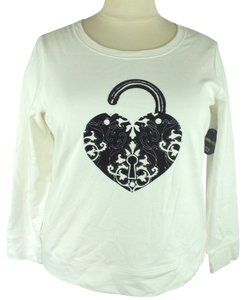 Style & Co Plus- & Plus Sweatshirt Top New Size: 1X White & Black