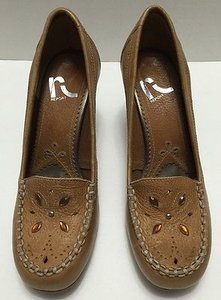 REPORT Classics Embellished Boho Bohemian Leather Brown Pumps