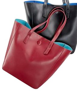 Bloomingdale's Tote in Dark Red/Turquoise Lining