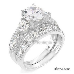 4.15 Ct Round Cut Double Heart Shape Cz .925 Sterling Silver Women's Engagement Ring And Wedding Band Bridal Set Size 6