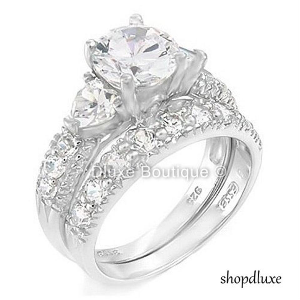 405 ct three stone sterling silver wedding engagement ring set - Sterling Silver Wedding Ring Set
