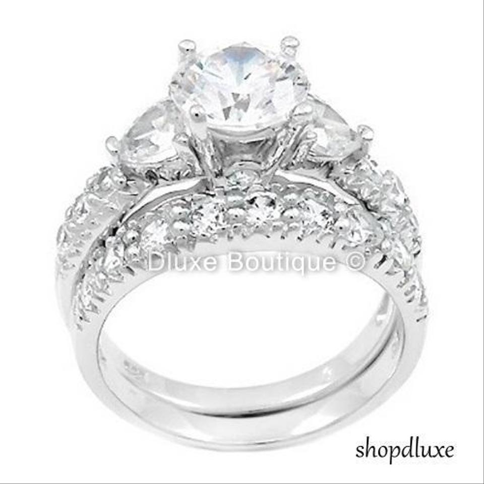 405 Ct Three Stone Sterling Silver Wedding Engagement Ring Set