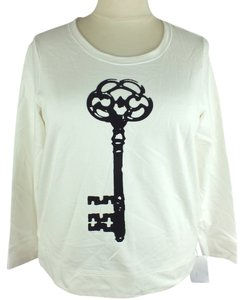 Style & Co Plus- Plus Sweatshirt Velvet Emblem Top New Size: 1X White & Black