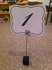 White and Black 20 Table Number Holders 25 Table Numbers--both By David Tutera