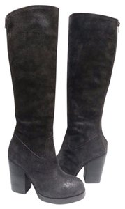 Ash Suede Knee-high Lacy Insets Black Boots