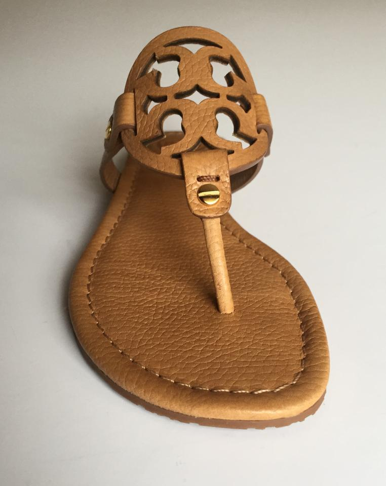 02ad63107 Tory Burch Royal Tan In Box Miller Flat Tumbled Leather Sandals Size US 7  Regular (M