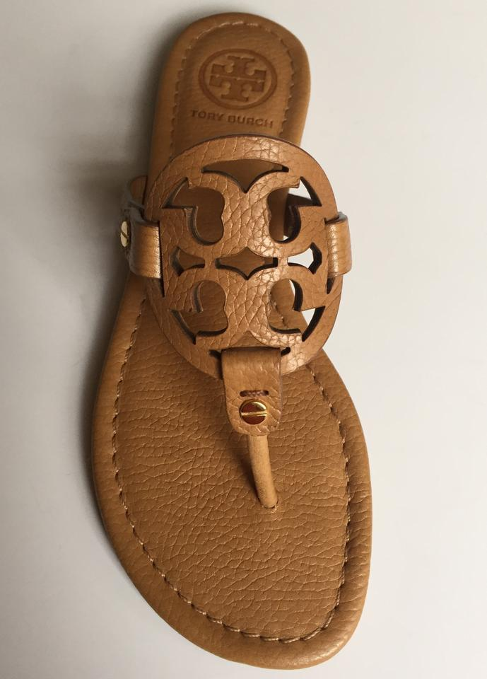 a6d95b5ff Tory Burch Royal Tan In Box Miller Flat Tumbled Leather Sandals Size ...
