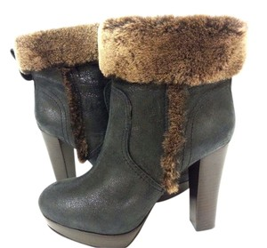 Tory Burch Distressed Fur Trim Ankle Ash Black Boots