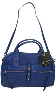 B. Makowsky Leather Color Silver Hardware Zip Top Closure Satchel in Blue