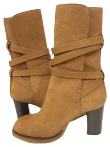 Tory Burch Textured Suede Mid-calf Tan Boots
