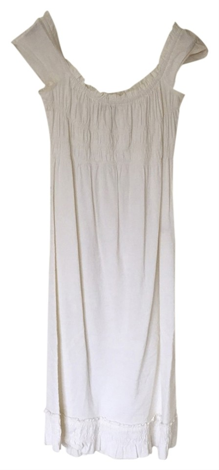 73593218f6c Theory White Linen Ruching Mid-length Short Casual Dress Size 8 (M ...