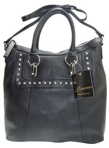 B. Makowsky Leather Studded Color Silver Hardware Satchel - Style Tote in Black