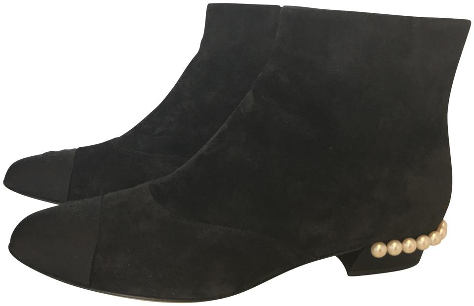 7170428df0f4b Chanel Black Classic Suede Leather Grosgrain Silk Cc Short Pearl Temple Flat  Ankle Boots/Booties