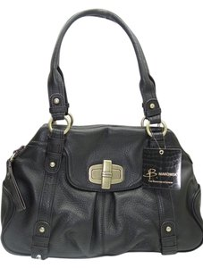 B. Makowsky Leather Color Antique Hardware Style Zip Top Closure Satchel in Black