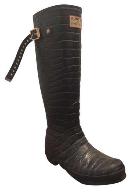 Item - Black Faux Crocodile Embossed Rubber Welly Hunter Rain Boots/Booties Size US 5 Regular (M, B)