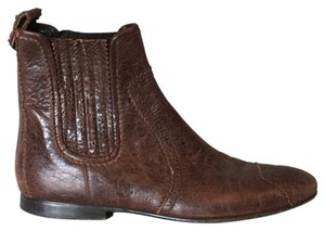 Balenciaga Chelsea Distressed Brown Leather Boots