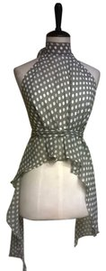 Lisa Nieves Chiffon Backless Polka Dot Top light brown white