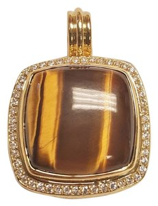 David Yurman Pave Albion Enhancer Tiger Eye and Diamond 18K