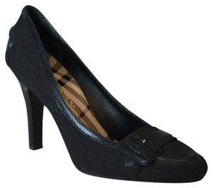 Burberry Dark Navy Microfiber and Leather Pumps