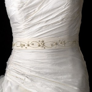 Delicate Bead & Rhinestone Wedding Bridal Sash - Belt