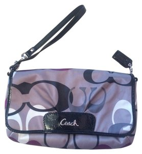 Coach Clutch Wallet Wristlet in Brown / Black / Purple