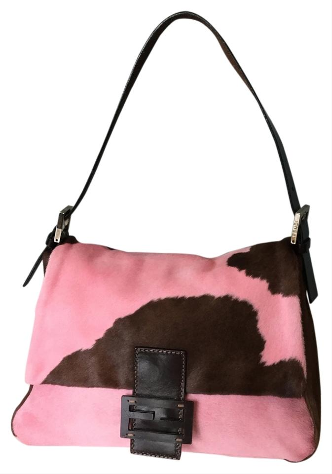 b948d3bf90 Fendi Cow Patch Pink and Brown Pony Hair Leather Shoulder Bag - Tradesy
