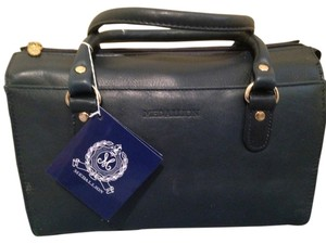 Wathne Leather Color Gold Hardware Strap Satchel in Navy