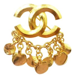 Chanel Authentic Vintage Chanel 18K Gold Plated CC Chain Dangle Brooch