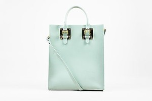 Sophie Hulme Mint Green Leather Gold Buckle Strap Crossbody Tote in Blue