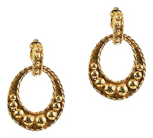 Kenneth Jay Lane Vintage Kenneth Jay Lane Gold Tone Bubble Texture Hoop Clip On Drop Earrings