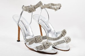 Manolo Blahnik Metallic Silver Sandals