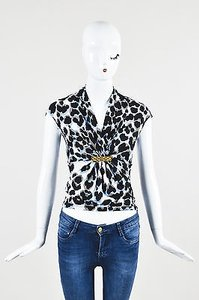 Roberto Cavalli White Blue Top Multi-Color