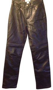 Hugo Buscati Black Petite Soft Leather Straight Pants Black Leather