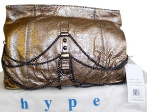 Hype Nickle Leather Louise Bronze Clutch