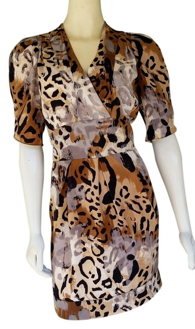 Item - Brown Sabine Cheetah Print Silk Above Knee Night Out Dress Size 8 (M)