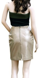 Hugo Buscati Leather Skirt Gold