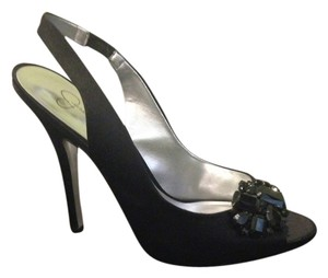 Jessica Simpson Rhinestone Slingback Satin Black Formal