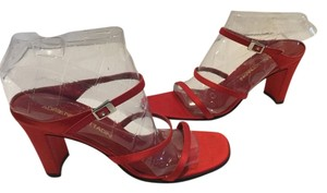 Adrienne Vittadini Italian Leather Lining Leather Soles 3 Foot Straps Red satin Sandals