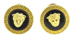 Other Versace Style 18K Solid Yellow Gold Black Enamel French Clip Earrings