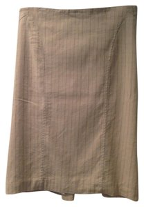 bebe Pencil Ruffle Pinstripe Skirt Beige