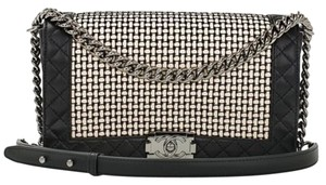 Chanel Tweed Leather .cc Boy Shoulder Bag