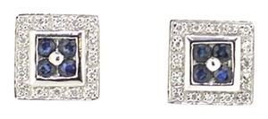 Other 14K White Gold 0.25Ct Diamond 0.25Ct Sapphire Stud Earrings 4.0 Grams