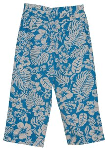 Lauren Ralph Lauren Cotton Resort Spring Summer Capris Multi-Colored, Turquoise Blue, White