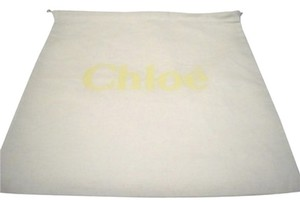 Chloé Brand New Chloe' Sleeper/ Dust Bag or Protective Cover White cotton with Tan logo Size 13 width x 13 Length. Drawstring Bag