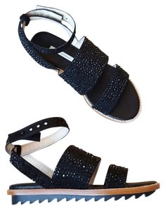 Zara Strappy Studded Black Sandals