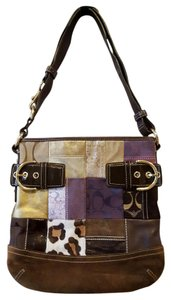 Coach Patchwork Holiday Brown Satchel in Multicolored/Brown