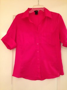 Ann Taylor Collar Button Down Shirt Magenta